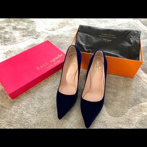 Deep Blue Velvet Kate Spade Heels Pumps worn once!